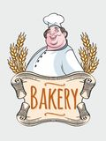 Chef baker label. Isolated image of chef baker label on a white background Stock Image