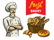 Chef and bakery. Vector color happy chef and bakery on white background Stock Image