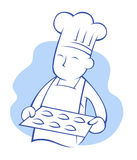 Chef baking cookies Royalty Free Stock Image