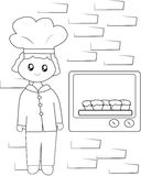 The chef baking cupcakes coloring page. Useful as coloring book for kids Royalty Free Stock Photos