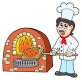 Chef baking pizza Royalty Free Stock Image