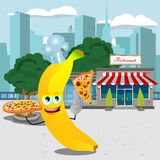 Chef banana holding pizza with attitude in front of a restaurant Royalty Free Stock Photo