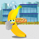 Chef banana with pizza holding a stop sign in the city Royalty Free Stock Photos