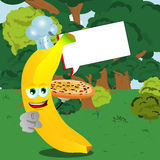 Chef banana with pizza pointing at viewer in the forest with speech bubble Royalty Free Stock Photos
