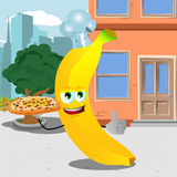 Chef banana with pizza showing thumb up in the city Stock Images