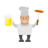 Chef holding a fried weenie and a pint Royalty Free Stock Images