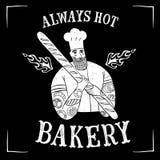 Chef barbu tiré par la main avec du pain Photos stock