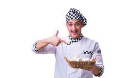 The chef with a basket of eggs Royalty Free Stock Photos