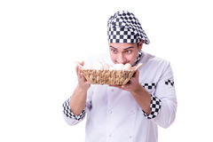 The chef with a basket of eggs Royalty Free Stock Photo