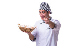 The chef with a basket of eggs Stock Photos