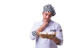 The chef with a basket of eggs Stock Image