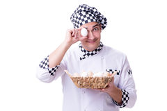 The chef with a basket of eggs Stock Photography