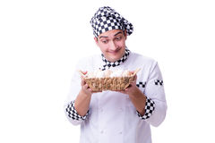 The chef with a basket of eggs Stock Images