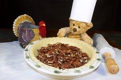 Chef Bear Baking Thanksgiving Pecan Pie royalty free stock photography