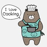 Chef Bear Is Cooking. Brown Bear Wearing An Blue Apron Say `i Love Cooking`. Vector Illustration Stock Image