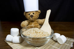 Chef Bear with Puffed Rice Cereal and Marshmallows Royalty Free Stock Photo