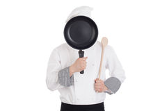 Chef behind pan Stock Photography
