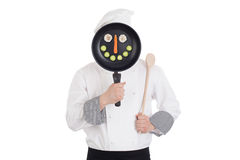 Chef behind pan Royalty Free Stock Photography