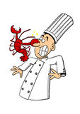Chef being attacked by lobster Royalty Free Stock Photography