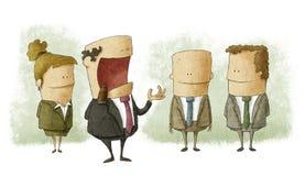 Chef- bespreking met werknemers stock illustratie