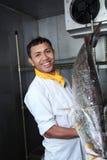Chef and big fish royalty free stock image