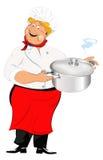 Chef and big saucepan Royalty Free Stock Photos