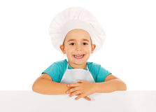Chef Billboard. Little boy chef in cook hat holding blank billboard Royalty Free Stock Image