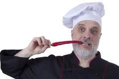 Chef biting chili Stock Photo