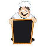 Chef with Blackboard Sign. Cartoon Chef Cook with blank wooden menu board Royalty Free Stock Photos