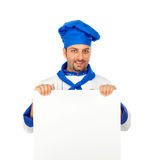 Chef with blank billboard Royalty Free Stock Photo