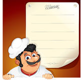 Chef with Blank Menu Stock Photos
