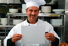 Chef with blank sign Royalty Free Stock Image