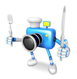 Chef Blue Camera Character right hand, Fork in the left hand hol Royalty Free Stock Image