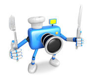 Chef Blue Camera Character right hand, Fork in the left hand hol Stock Images