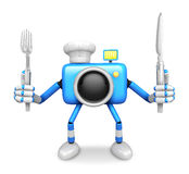 Chef Blue Camera Character right hand, Fork in the left hand hol Royalty Free Stock Photo
