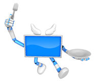 Chef Blue TV Character Chef in both hands to hold a fork and pla Stock Photography