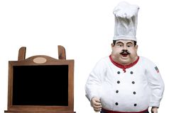 Chef with  board for menu. (isolated Royalty Free Stock Image