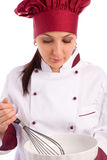 Chef with bowl and whip Royalty Free Stock Image