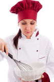 Chef with bowl and whip Stock Photo