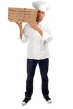 Chef with boxes of pizza Royalty Free Stock Photo