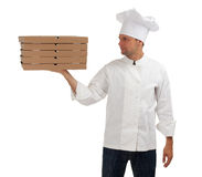 Chef with boxes of pizza Stock Photo