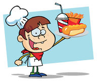 Chef Boy Carrying A Hot Dog French Fries And Drink. Cartoon Chef Boy Carrying A Hot Dog, French Fries And Drink Stock Image