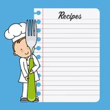 Chef boy with a fork and blank sheet. Chef girl with a fork and blank sheet to write recipes Royalty Free Illustration