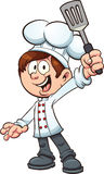 Chef boy. Holding a spatula. Vector clip art illustration with simple gradients. Boy, spatula and fingers on separate layers Stock Photography
