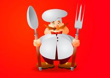Chef. The brave guardian of the restaurant menu. vector illustration