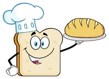 Chef Bread Slice Cartoon Mascot Character Presenting Perfect Bread. Illustration Isolated On White Background royalty free illustration
