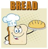 Chef Bread Slice Cartoon Mascot Character Presenting Perfect Bread. Illustration Isolated Over Background With Text Bread vector illustration