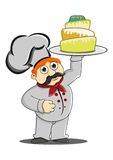 Chef bring a cake Stock Image