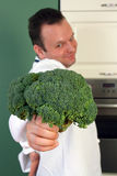 Chef and broccoli Royalty Free Stock Image