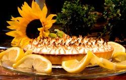 Chef Bubbies Lemon Meringue. Beautiful Lemon Meringue pie plated with fresh lemon garnish royalty free stock photo